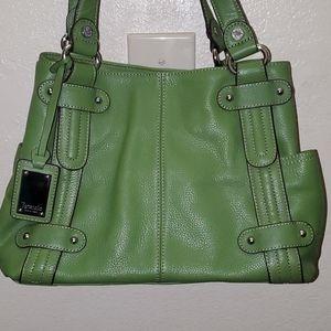 Tignalello green leather six pocket shoulder bag
